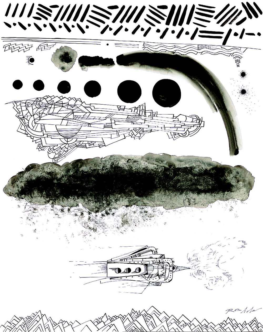 Exploring Spaceship    Ink on paper 1967