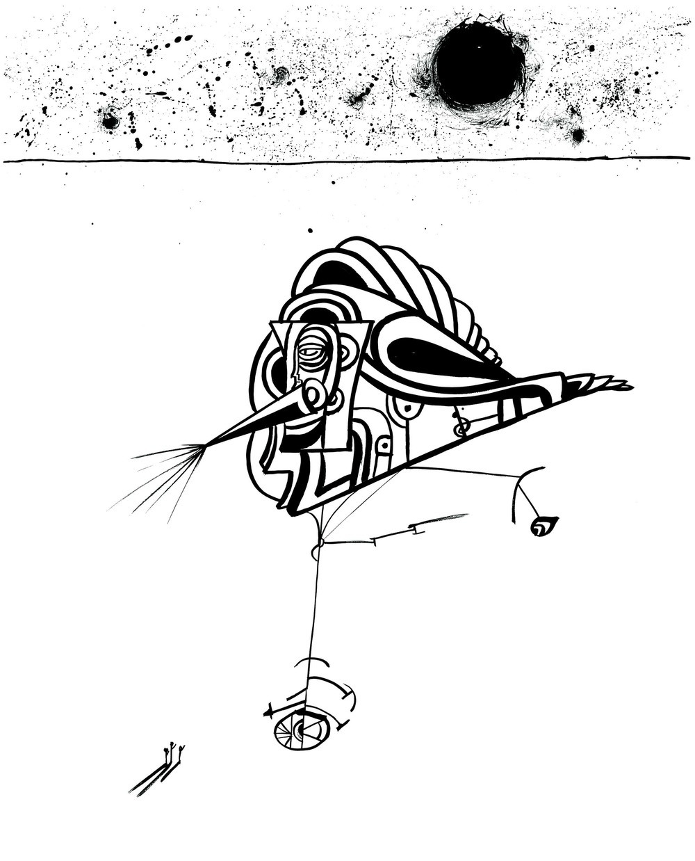 Warplane Landed    Ink on paper 1972