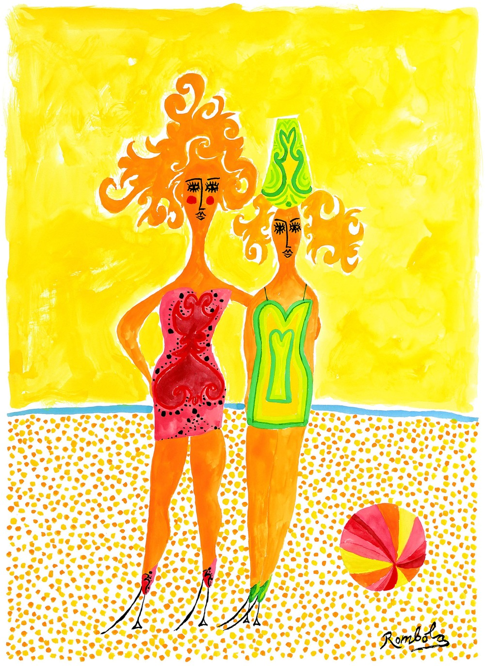 Sally and Monica at the Beach    Gouache on paper 1960