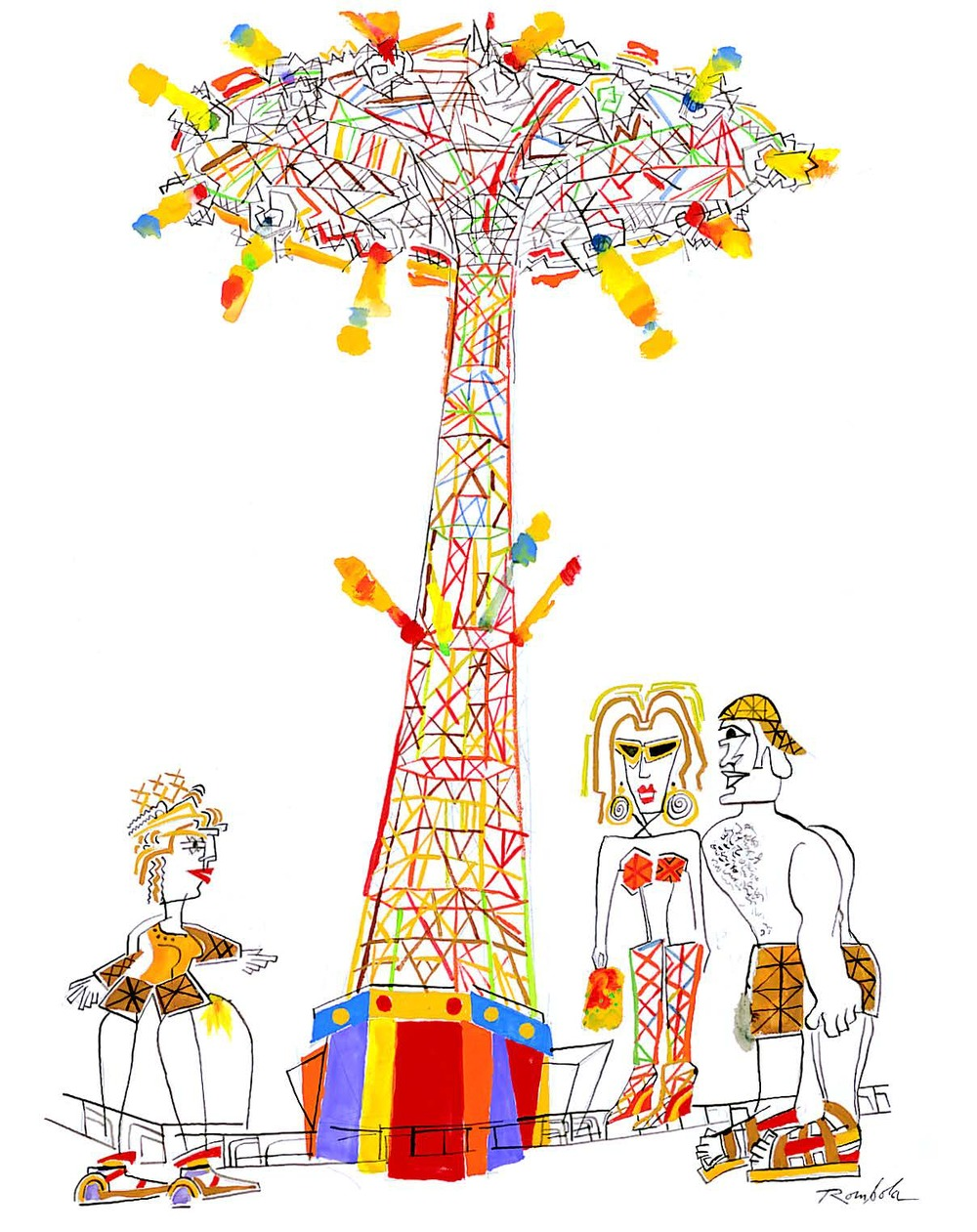 The Parachute Jump    Gouache and ink on paper 2005