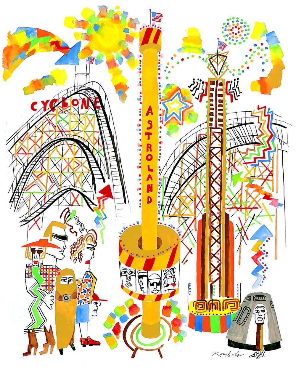 Astroland    Gouache and ink on paper 2005