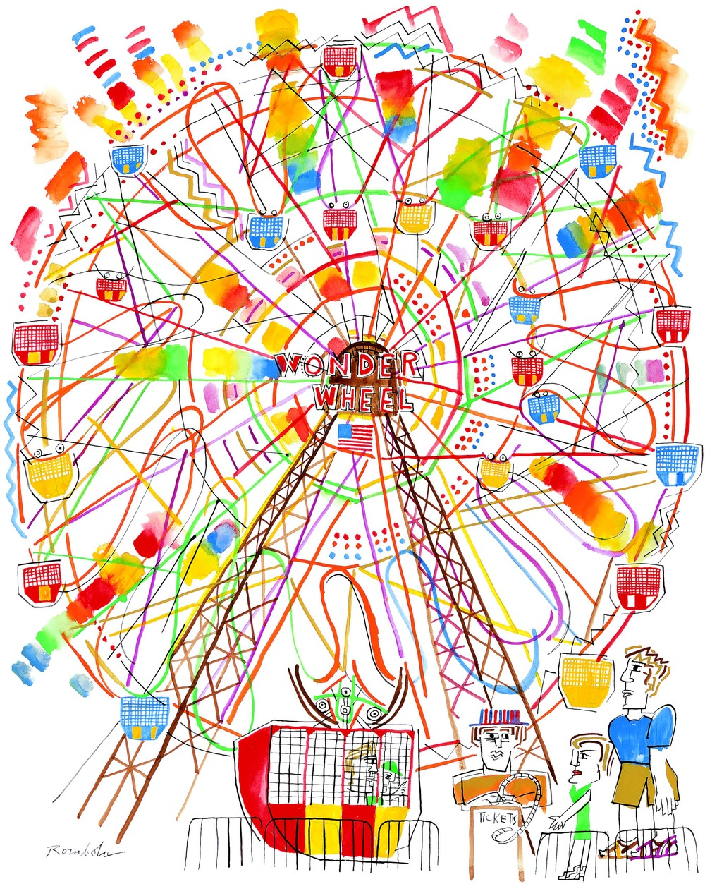 Wonder Wheel    Gouache and ink on paper 2005