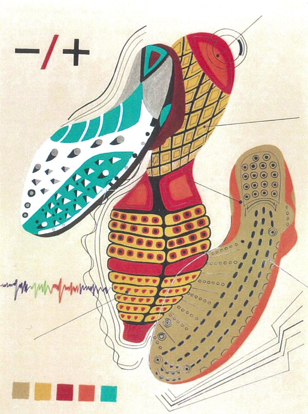 Athletic Shoes   Gouache Perm Marker on illus Board 30X40