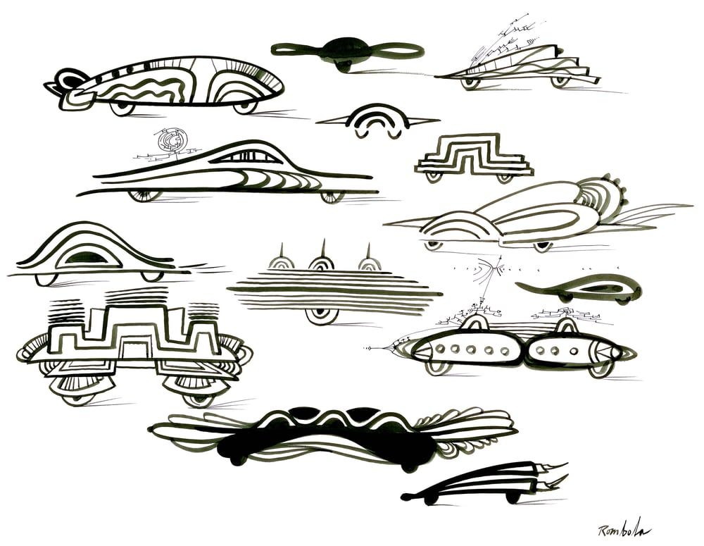 Futuristic Cars    Ink on paper 1966