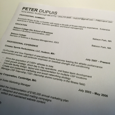 resume building 101 for fitness professionals petedupuis com
