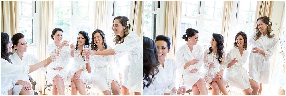 Bridesmaids enjoy champagne with bride before her wedding at Grazing in Gunderoo.