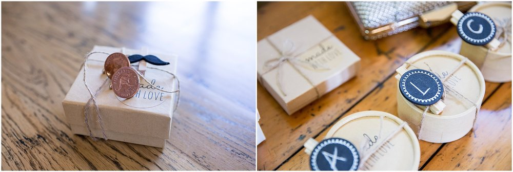Penny cufflinks as a groomsmen gift and other presents for bridesmaids