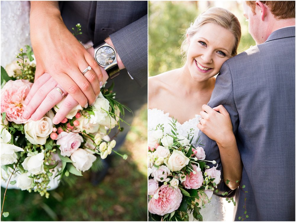 Bride and Groom showing off their wedding rings - Gold Creek Wedding