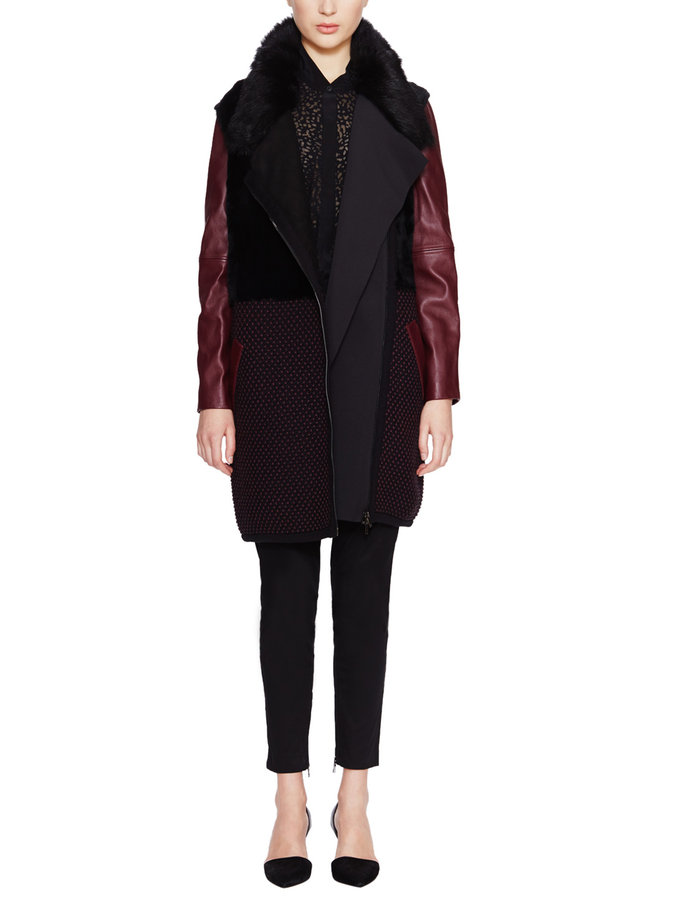 Ohne Titel Leather Shearling Fur Knit Coat, org. $2040. My price of $245