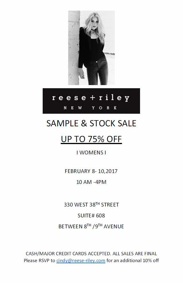 Reese+Riley Sample and Stock Sale