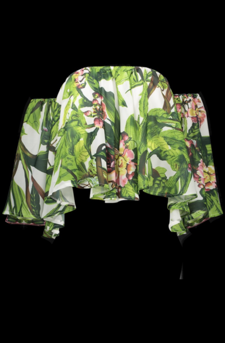 Tropical Print Off Shoulder Butterfly Sleeve Top