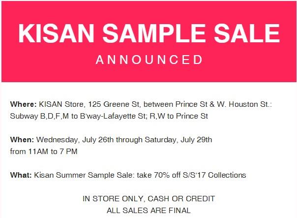Kisan sample sale