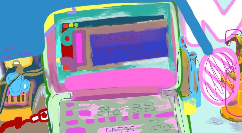 TEENAGE FANTASY in hot pink Digital Drawing 2017