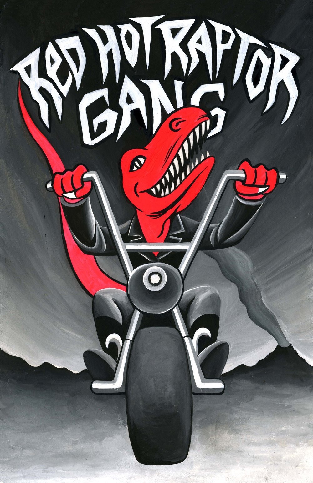 "Red Hot Raptor Gange poster illustration for the ""Faux Show"" at Naming Gallery  2016 gouache on paper"