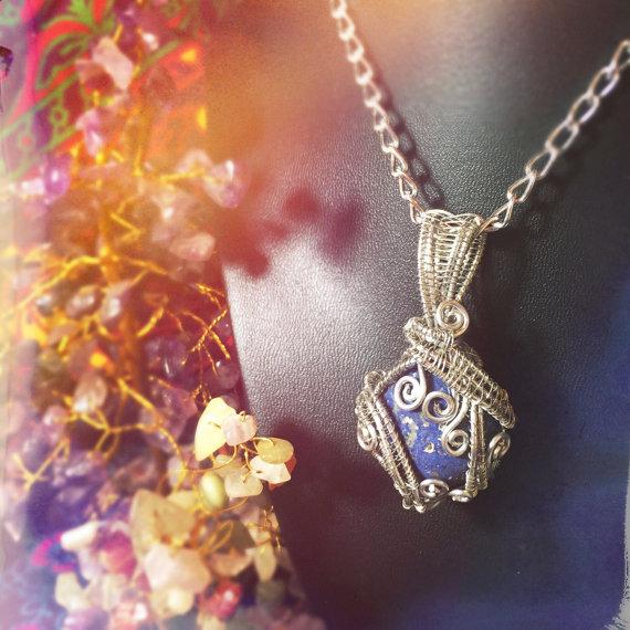 Handmade Dumortierite pendant, by And Zen Some.