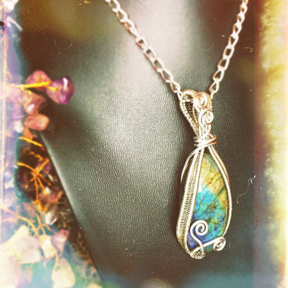 Handmade Labradorite pendant by And Zen Some.