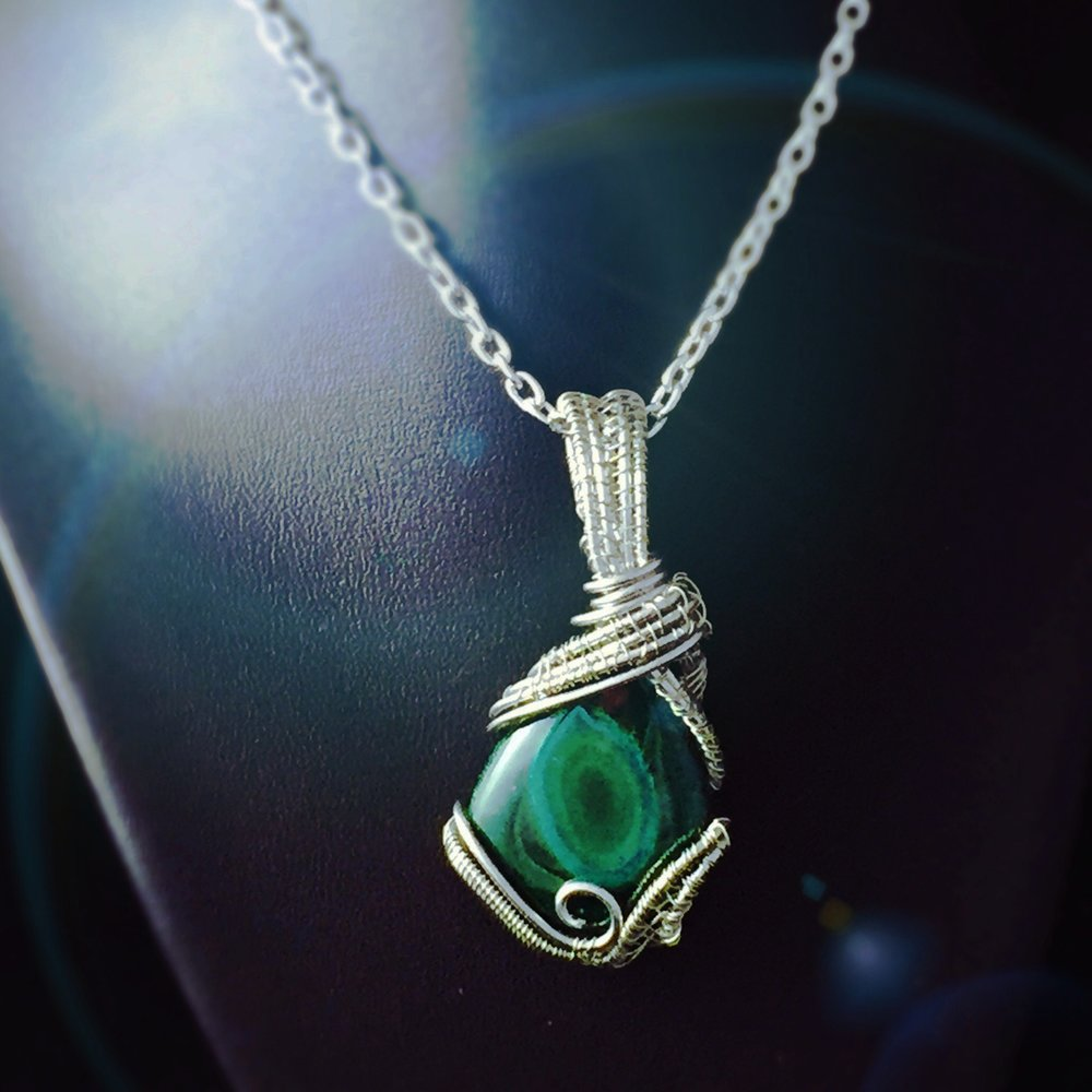 Wire Wrapped Malachite Healing Crystal by And Zen Some
