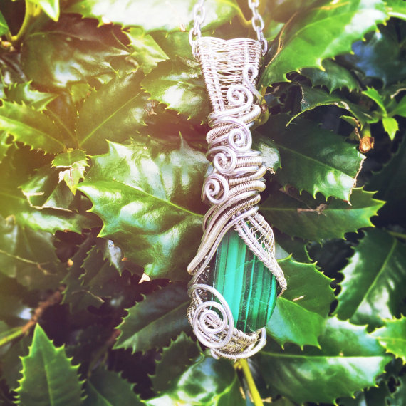 Handmade Wire Wrapped Malachite Stone Here by And Zen Some