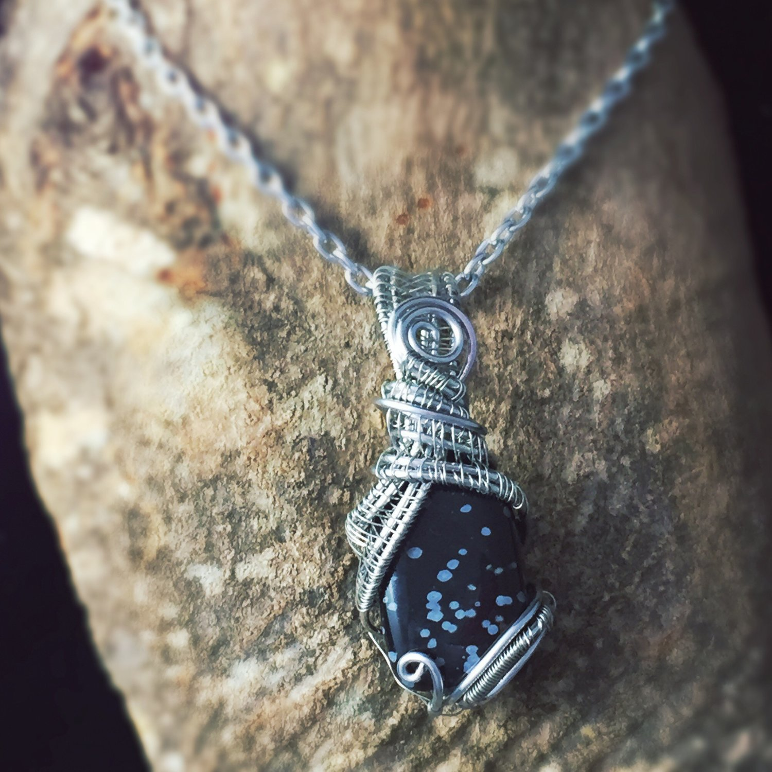 snowflake obsidian double terminated point necklace crystal healing spiritual support