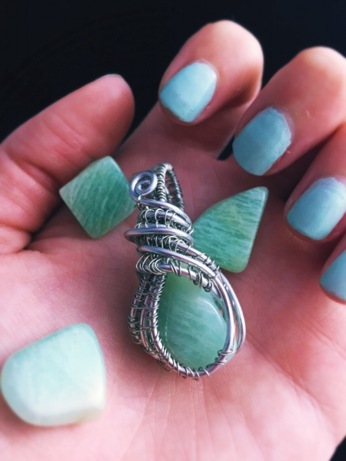 Click here  out this Amazonite Wire Wrapped Healing Crystal Necklace in the shop. Also purchase some of these  tumbled stones for discrete healing by clicking here!