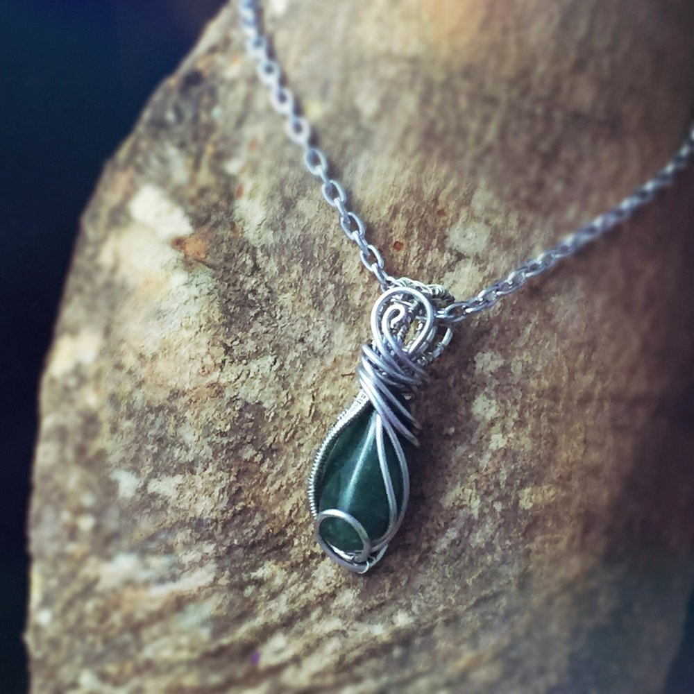 Green Aventurine Good Luck Stone Wire Wrapped by And Zen Some