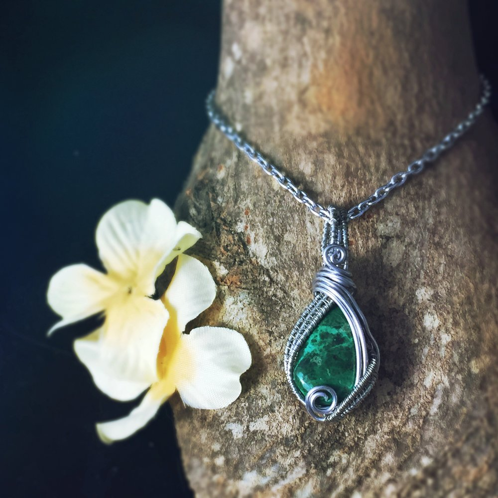 Wire Wrapped Chrysocolla Healing Stone, perfect for Geminis By And Zen Some