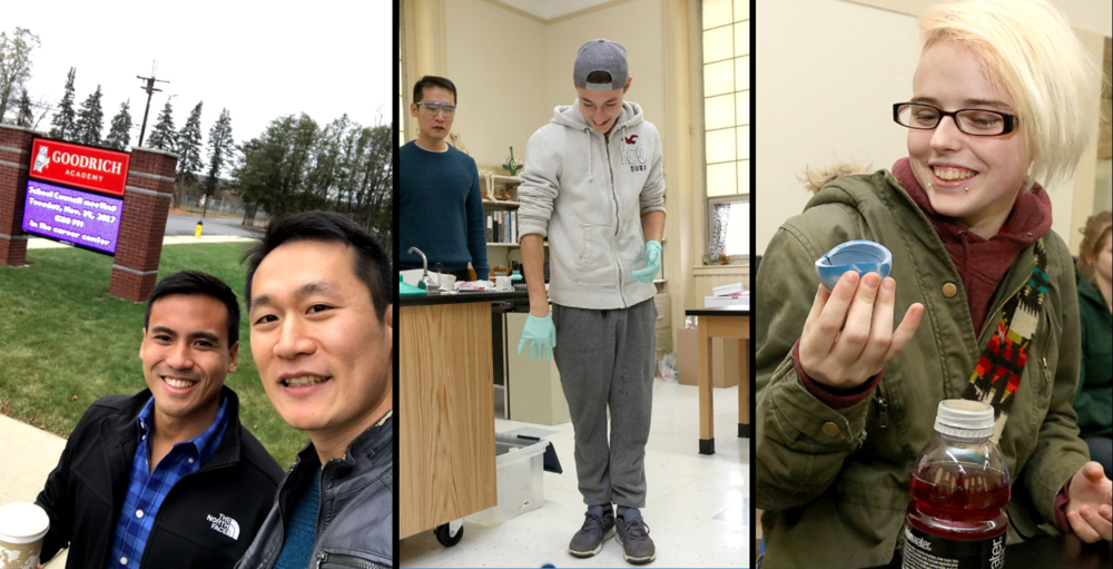 """MIT Chemistry Outreach     Yoon and Suchol (far left) visited Goodrich Academy high school to demonstrate experiments such as """"clock reaction"""", """"temperature (two middle photos: students playing with frozen rubber balls)"""" and """"nylon synthesis (far right)"""".  Goodrich Academy, Fitchburg, MA, November 2017   http://chemistry.mit.edu/education-outreach    http://photos.sentinelandenterprise.com/2017/11/15/mit-students-teach-chemistry-to-students-at-goodrich-academy-nov-15-2017/#3"""