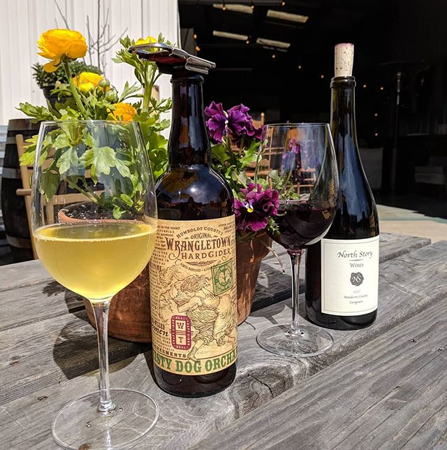 Saturday sunshine, cider and wine. 🥂☀️ Come relax in the Creamery District of Arcata today.  Have a glass and then venture to @thebackporch1, @bangbangarcata and @seapod.nave and @hollyyashi