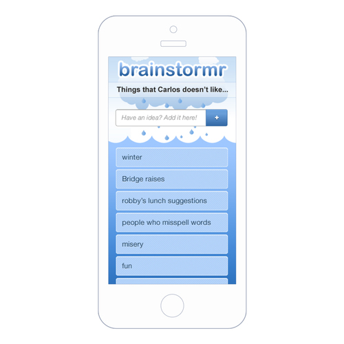 Brainstormr project displayed on a device