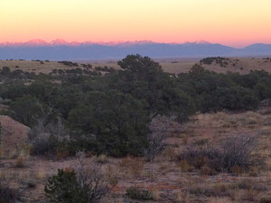Alpenglow over the Sangre de Cristo mountains.