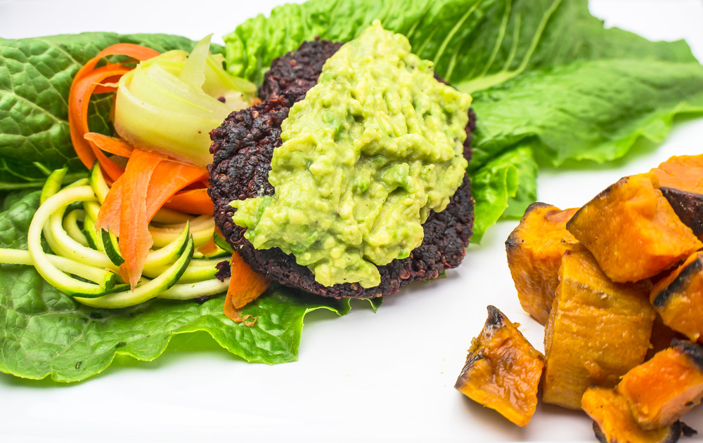 beet burger with sweet potatoes