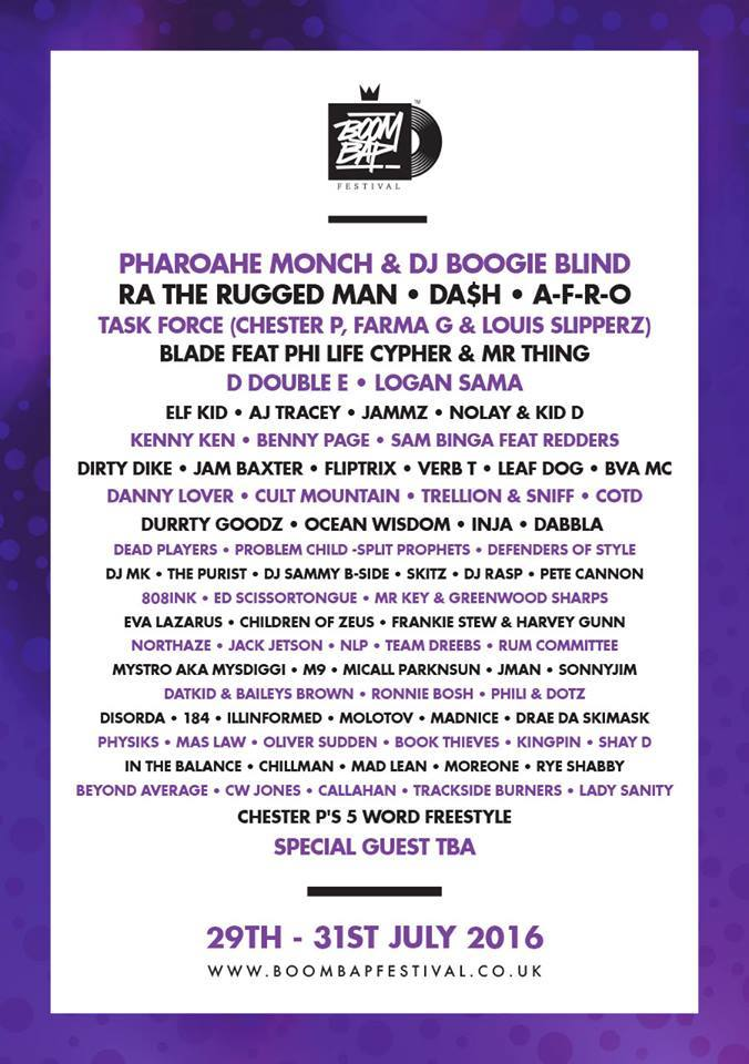 Boom Bap 2016 full line up