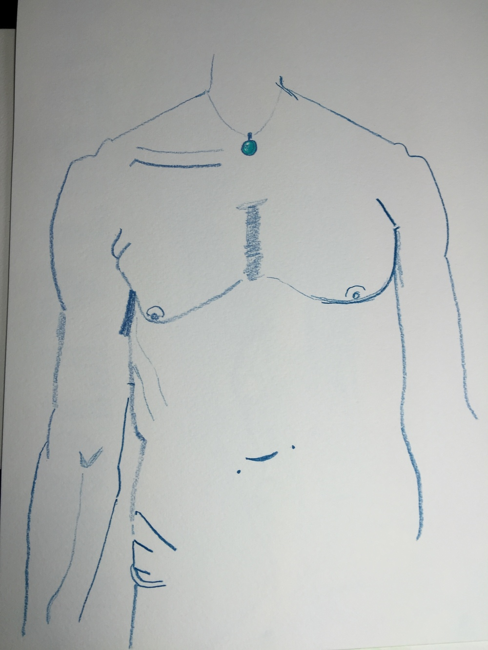 My First Self-Body Portrait |Summer 2015 | This was hard for met to draw. I will discuss more about this in an upcoming post.