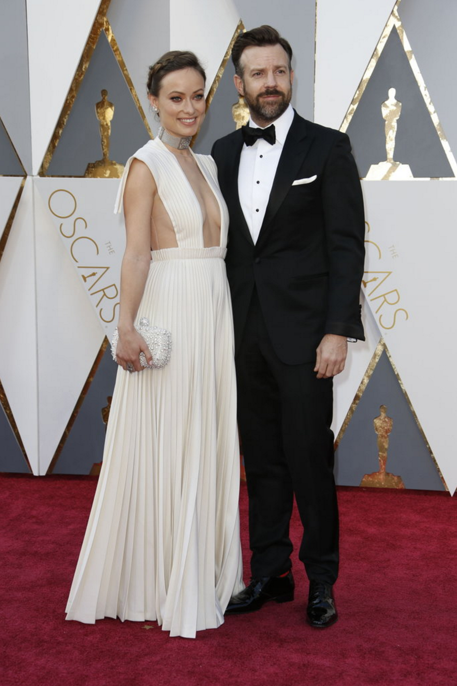 Olivia Wilde in Valentino haute couture and Jason Sudeikis