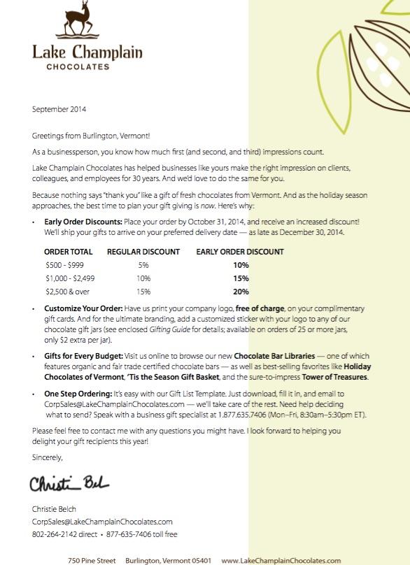 Sales letter - click to enlarge.