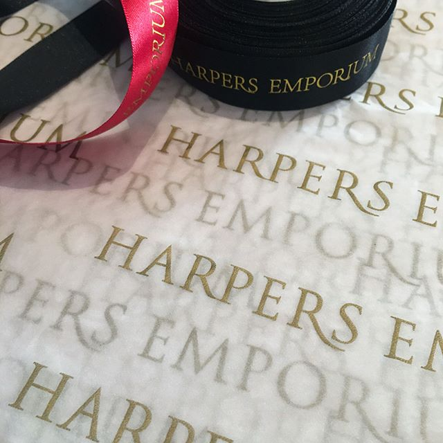 Stylish rollout of our brand update for @harpersemporium - shopper bags, jewellery boxes, ribbon and tissue. Design by insomnia. - - #insomniadesign #branding #design #harpersemporium #fashionandfragrance