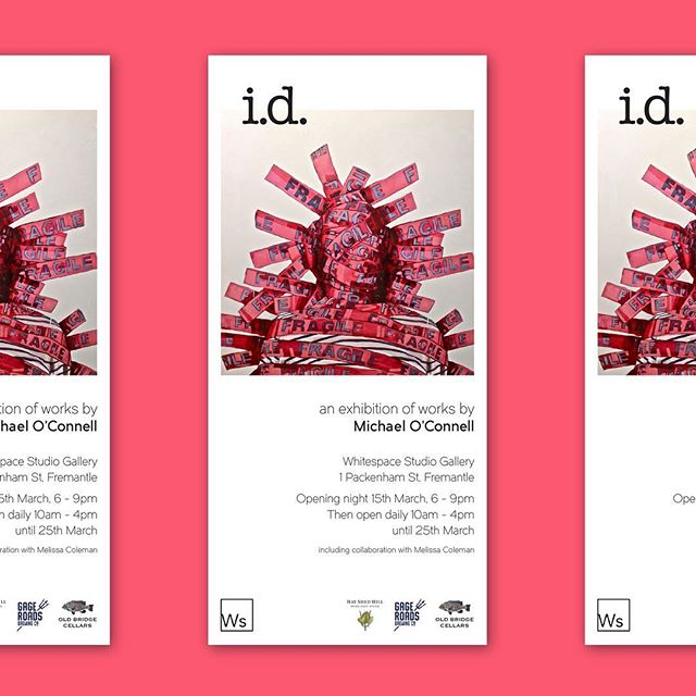 Gallery invitation designed for North Fremantle artist Michael O'Connell - exhibiting his latest works @whitespacestudiogallery in Fremantle. i.d. commences with an opening 6 - 9pm this Friday, 15th March. . In addition to Mikey's obvious painting and illustrative prowess, his pieces are highly entertaining, full of self-deprecating humour and wry observations of suburban life. . #insomniadesign #design #branding #mo #michaeloconnell #artist #id