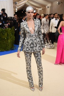Cara Delevingne in a Chanel pantsuit.
