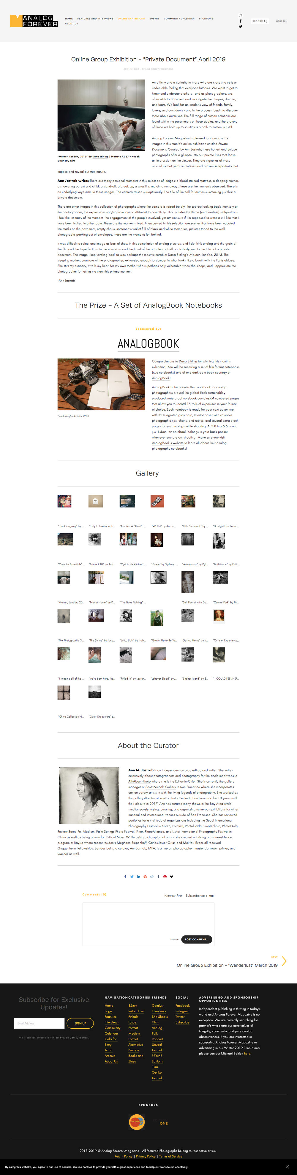 """Online Group Exhibition - %22Private Document"""" April 2019 — Analog Forever Magazine - Magazine Publisher of Analog Photography with Features, Interviews, Events, and Call for Entry (20190415).jpg"""