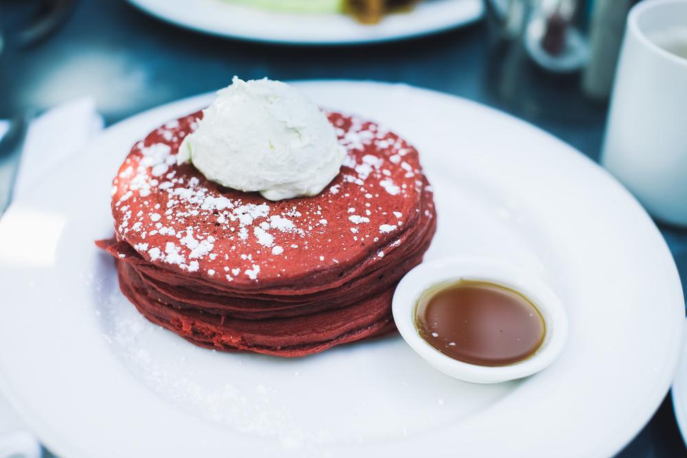 Red Velvet Pancakes + Lemon Mascarpone