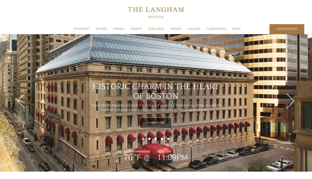 Screenshot image from the home page website of The Langham, Boston Hotel.