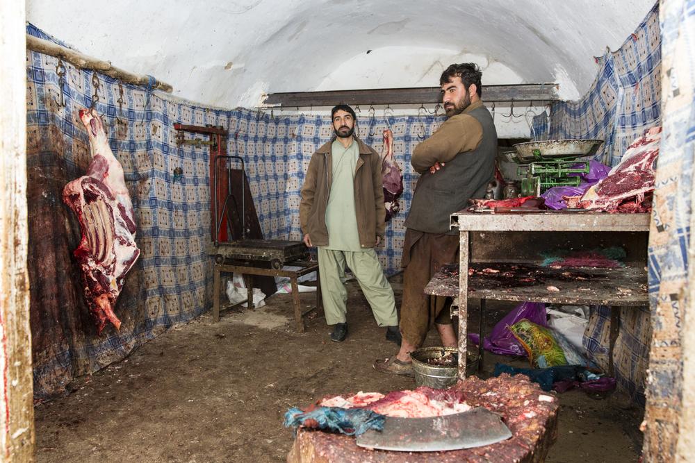 Farahi meat merchants (Farah, Afghanistan).