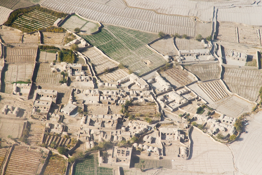 Afghan houses and fields (Farah, Afghanistan).