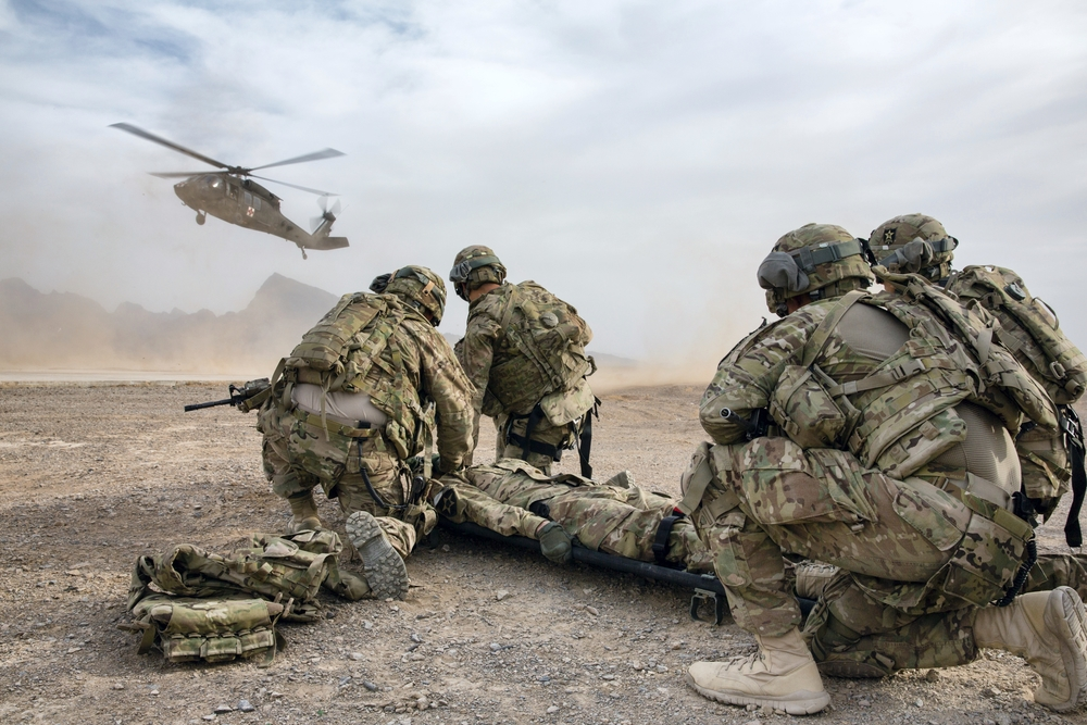 US Army Soldiers practice medical evacuation of a simulated casualty at Forward Operating Base Farah (Farah, Afghanistan).