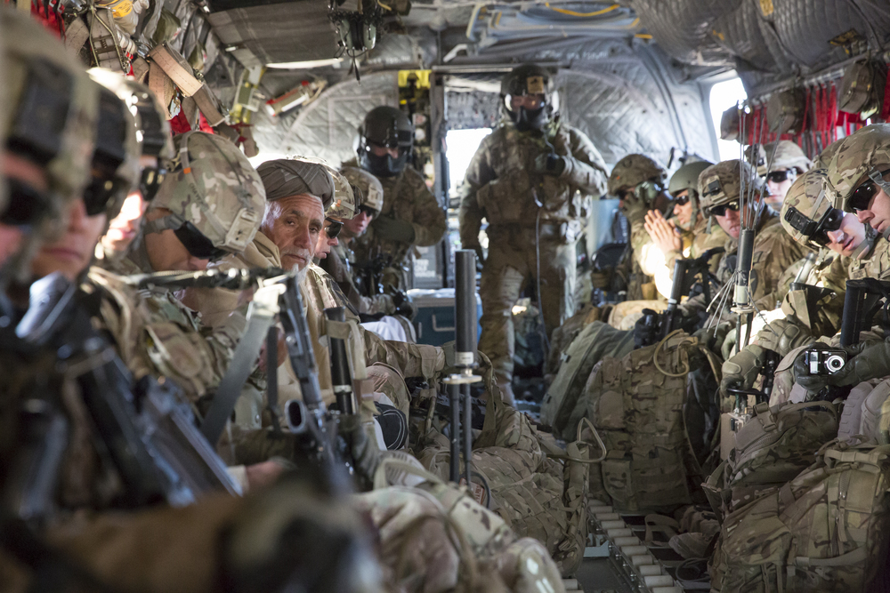 US Army Soldiers and Farahi leaders enroute to Forward Operating Base, Farah, after a meeting in Lash-e Juwayn.