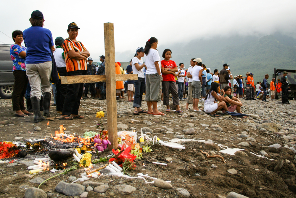 A makeshift memorial at the site of a massive landslide at Guinsaugon, Leyte, Philippines.