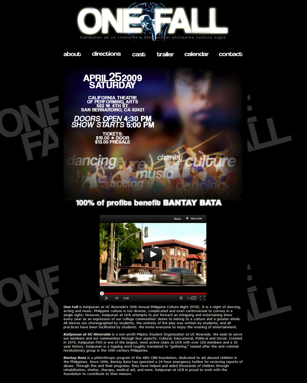 Site design for a play/cultural show at the California Theater of Performing Arts in San Bernardino (2009)