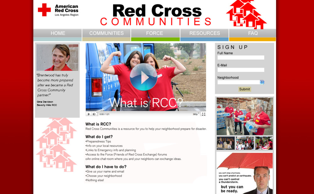Unused submission for Red Cross of Los Angeles website (2011)