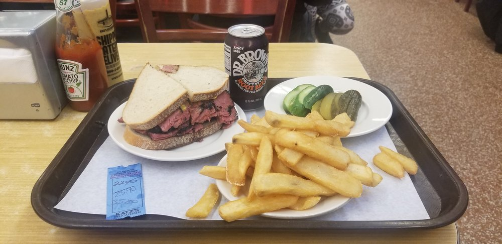 Hot Pastrami sandwich with fries from Katz's Delicatessen