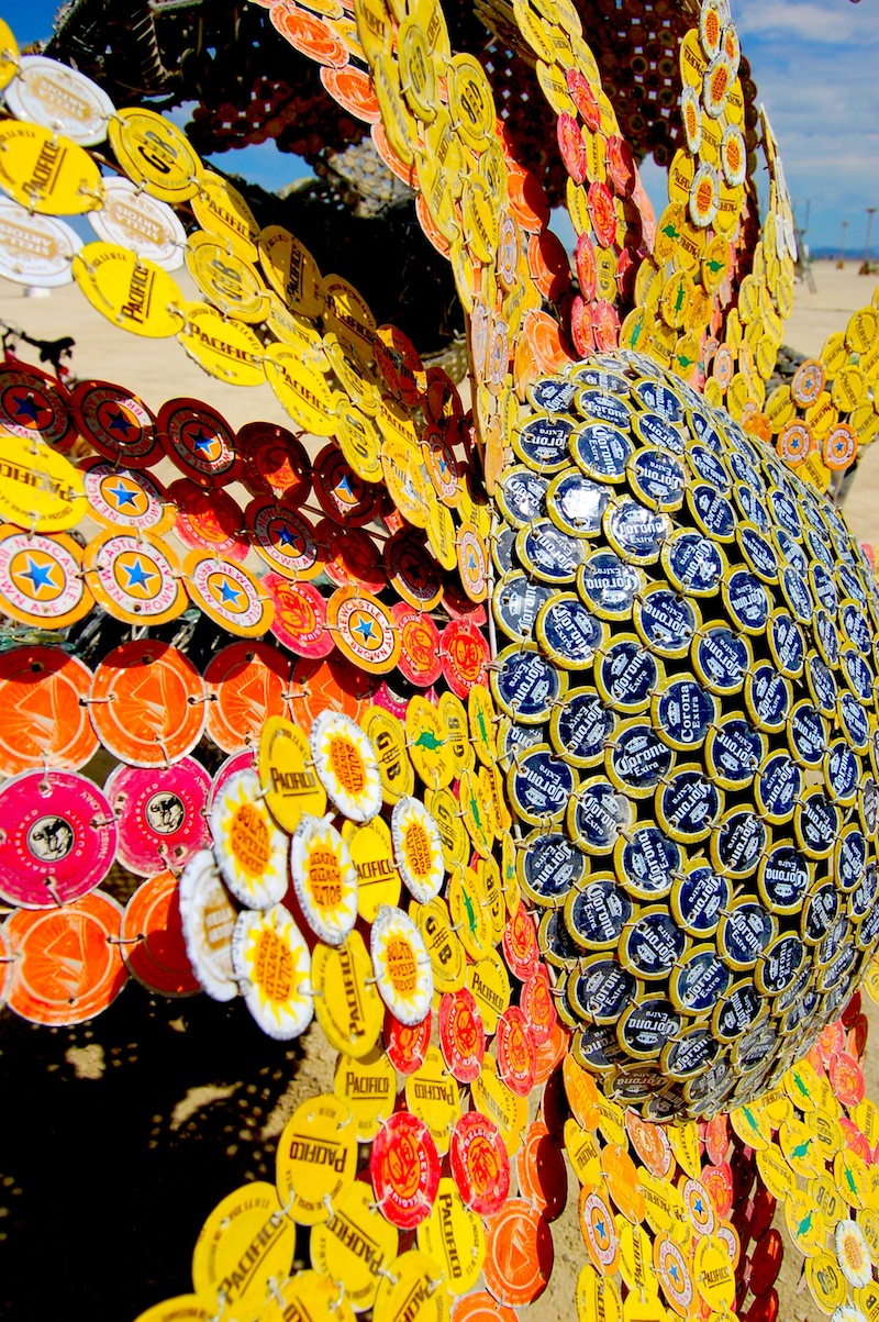 burning man art recycled lids sunflower